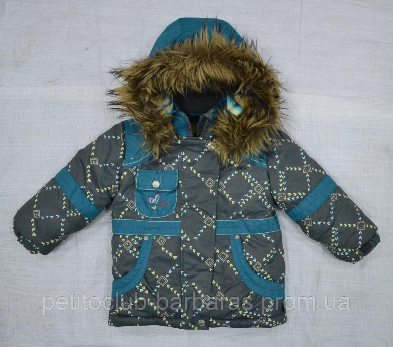 Куртка зимняя для девочки серо-зеленая (QuadriFoglio, Польша)