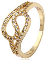 Кольцо Изгибы позолота с цирконами Размер 18 (gf635 - ОПТ
