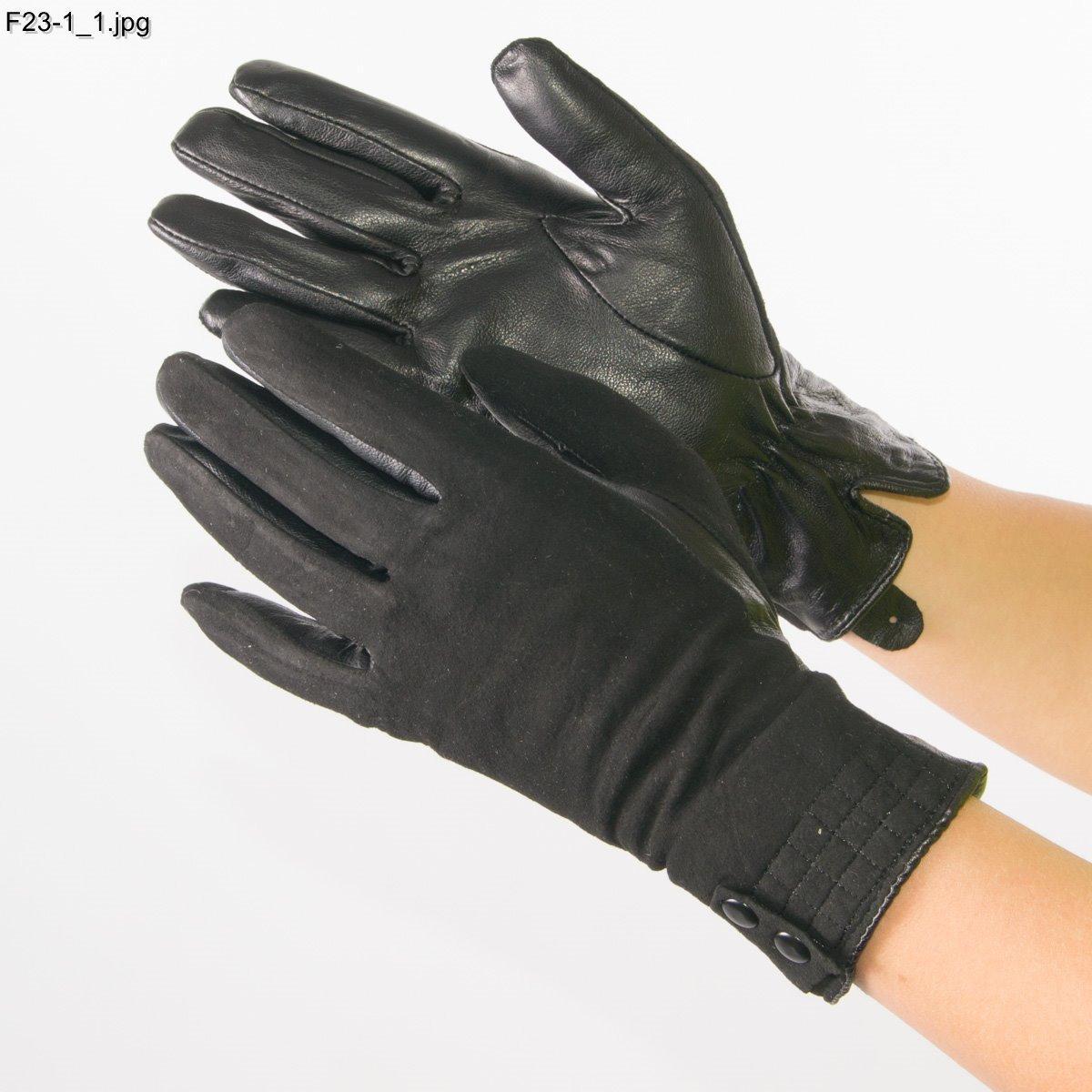 Женские замшевые перчатки с кожаной ладошкой с шерстяной подкладкой - №F23-1