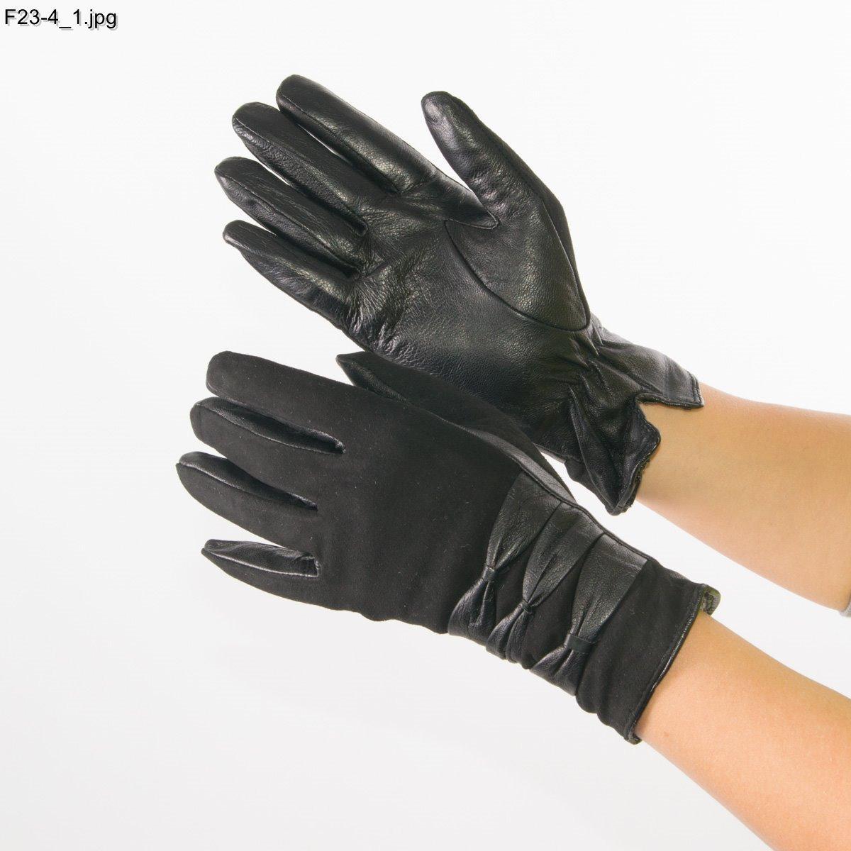 Женские замшевые перчатки с кожаной ладошкой с шерстяной подкладкой - №F23-4