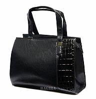 Женская сумка-саквояж с лаковой вставкой
