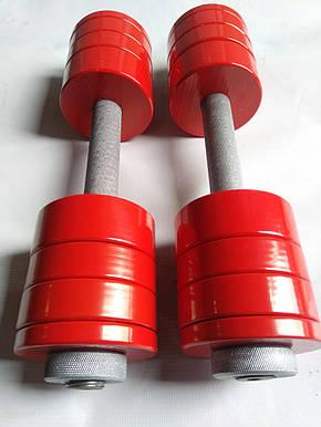 Гантели 2 по 10 кг разборные стальные, для женщин, фитнеса и аэробики, фото 2