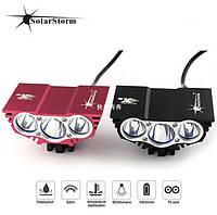 Велосипедная фара ТРОЙНАЯ СОВА SOLARSTORM 3х CREE. USB
