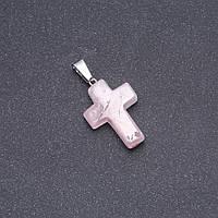 Кулон Крестик камень Розовый кварц 25х18мм