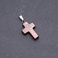 Кулон Крестик камень Яшма красная 25х18мм
