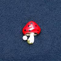 """Брошь """"Грибочек"""" красная шляпка 23х30мм цвет металла """"золото"""""""