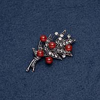 """Брошь """"Сердоликовые ягоды"""" 30х53мм цвет металла """"серебро"""""""