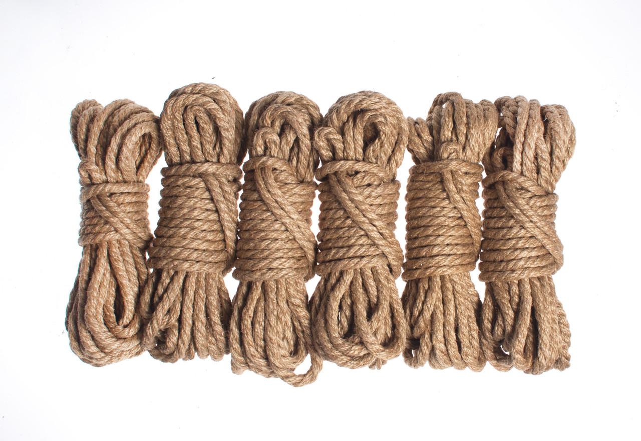 Набор веревок для шибари 6х8м. 6мм, джут.натуральная