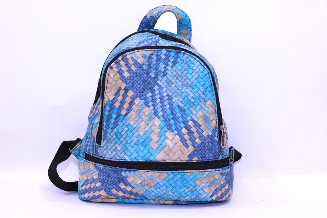 Городской рюкзак голубого цвета для девочек малого размера из кожзама.(16868)