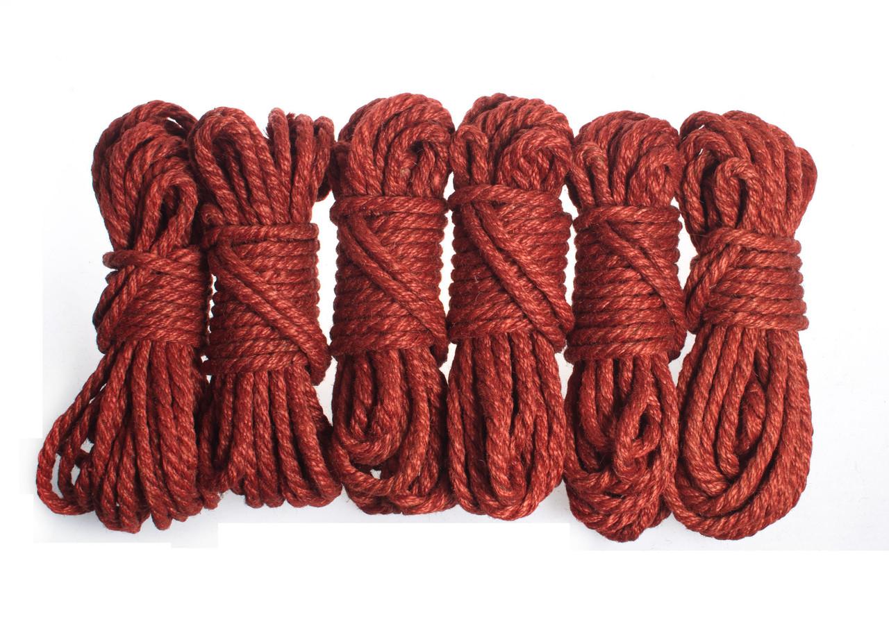 Набор веревок для шибари 6х8м. 6мм, джут.красная
