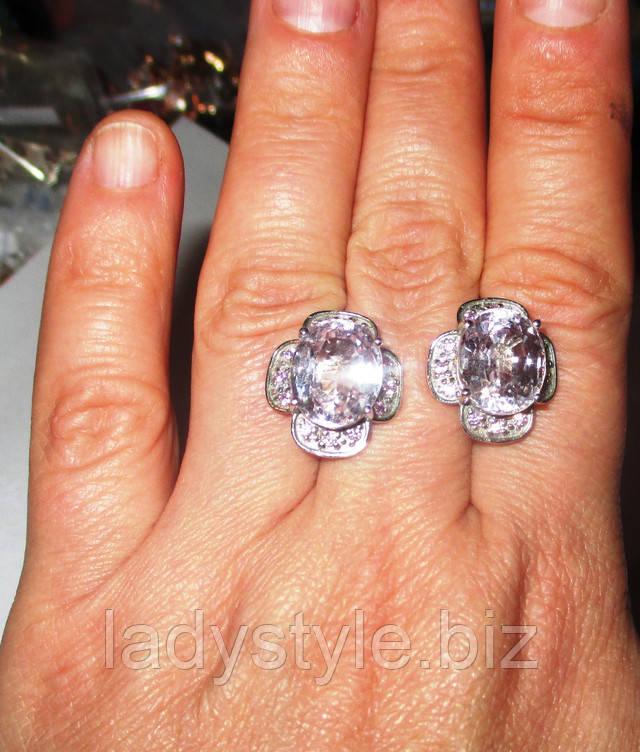 серебряные серьги украшения купить натуральный кунцит рубин подарок