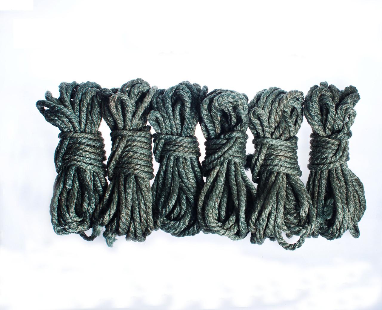 Набор веревок для шибари 6х8м. 6мм, джут. зеленая