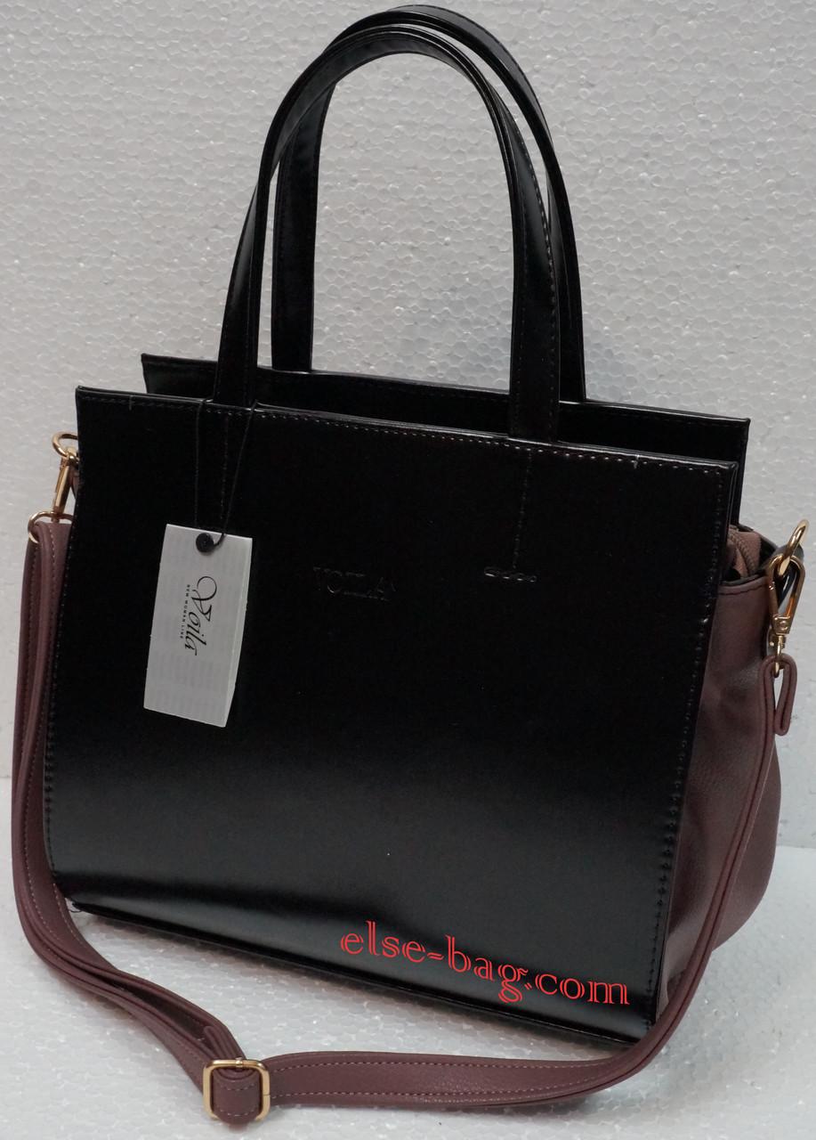 8fa7643c02ce Каркасная черная сумка с цветной вставкой -