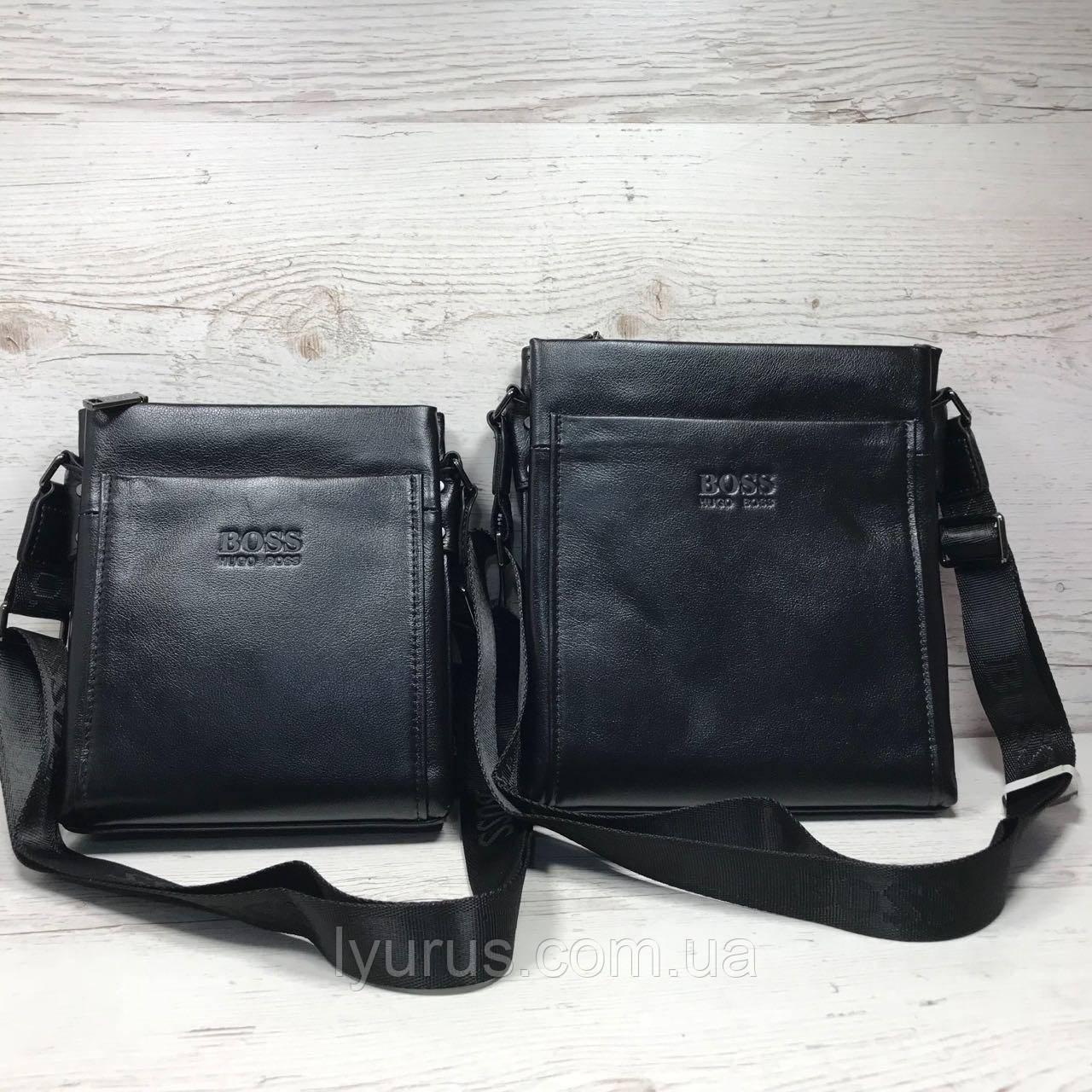 Мужская кожаная сумка мессенджер  Hugo Boss ширина 21 и высота 23