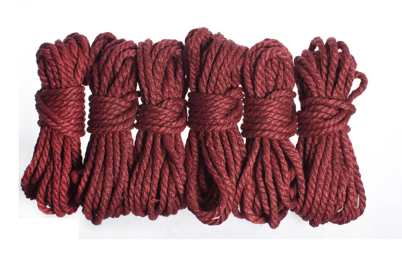 Набор веревок для шибари 6х8м. 6мм, джут. бардовая
