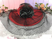 Шляпа карнавальная с розой, красная и черная