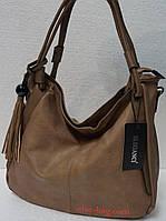 Мягкая сумка на две ручки под масло кожу темный беж