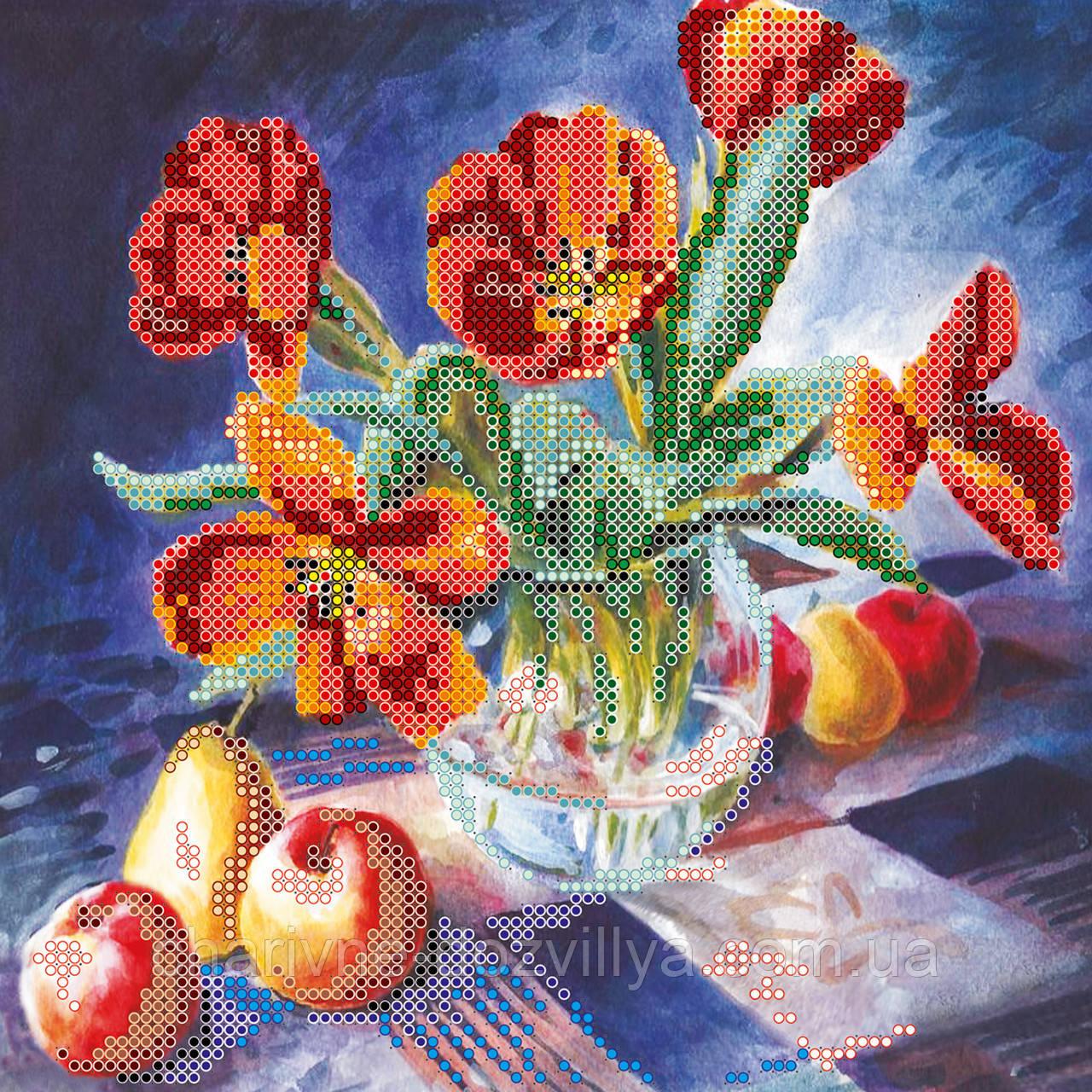 Схема для вышивки бисером Натюрморт с тюльпанами
