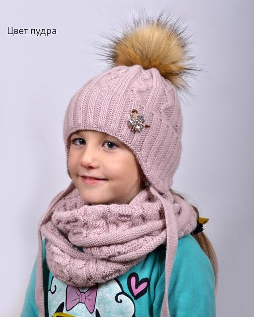 Зимняя шапка на флисе Принцесса 52-56 см  БЕЗ ШАРФА