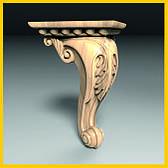 Ножка мебельная резная деревянная. Кабриоль с листом. С площадкой для крепления. 155 мм топ