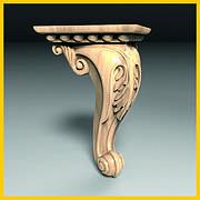 Ножка мебельная резная деревянная. Кабриоль с листом. С площадкой для крепления. 165 мм топ