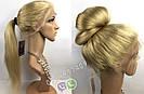 Парик блонд — Длинный натуральный 65см. (цвет #613) на полной сетке, имитация кожи головы, фото 6