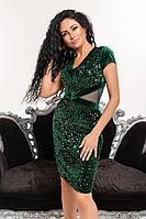 Вечернее бархатное платье с пайетками   (42-50)