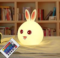 Ночник светильник детский  Rabbit Silicone Lamp с пультом силиконовый