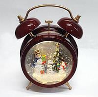 Новогодние украшение Будильник Снеговики, музыка, подсветка, вращающиеся блестки
