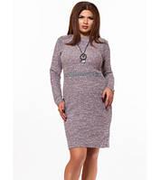 Повседневное платье для полных с бижутерией бордовый 824952