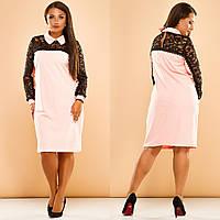 """Нарядное комбинированное платье А-силуэта """"TORY"""" с воротничком и манжетами (большие размеры)"""