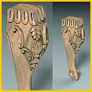 Ножка резная гнутая с завитками из дерева ясень для тумб и кресел. Кабриоль. 200 мм
