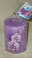 Свеча декоративная з орхидеями фиолетовая, фото 1