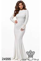 Платье вечернее в пол белое с большим вырезом на спине