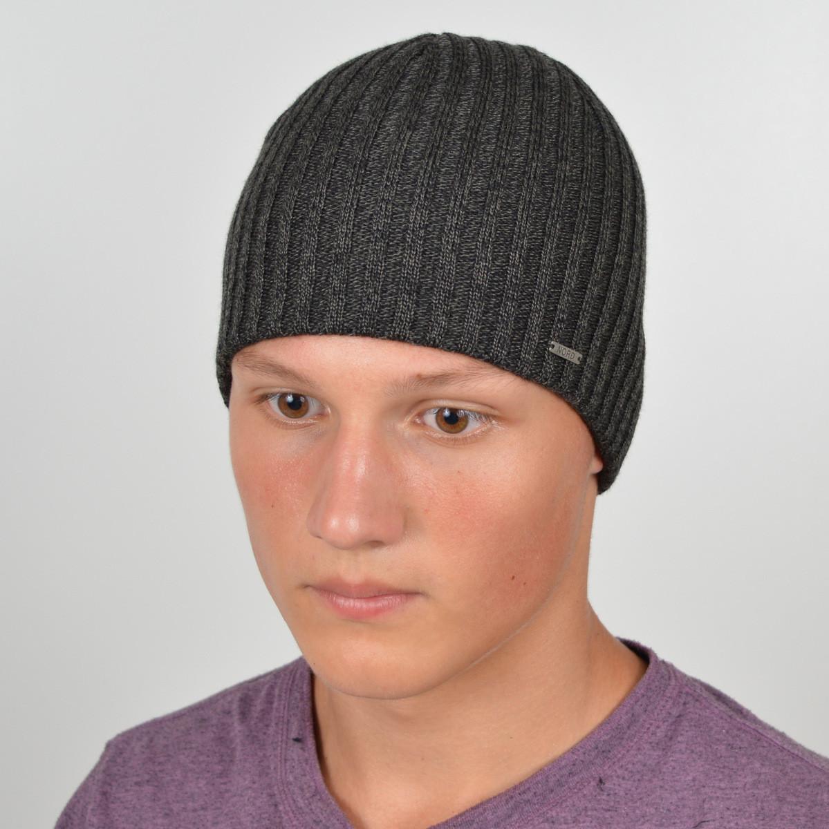 Мужская вязанная шапка NORD серый меланж
