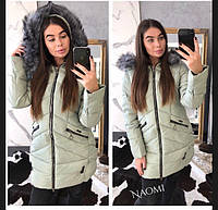 Куртка женская теплая зимняя с капюшоном на молнии плащевка Gp852 8ad44364d3c36