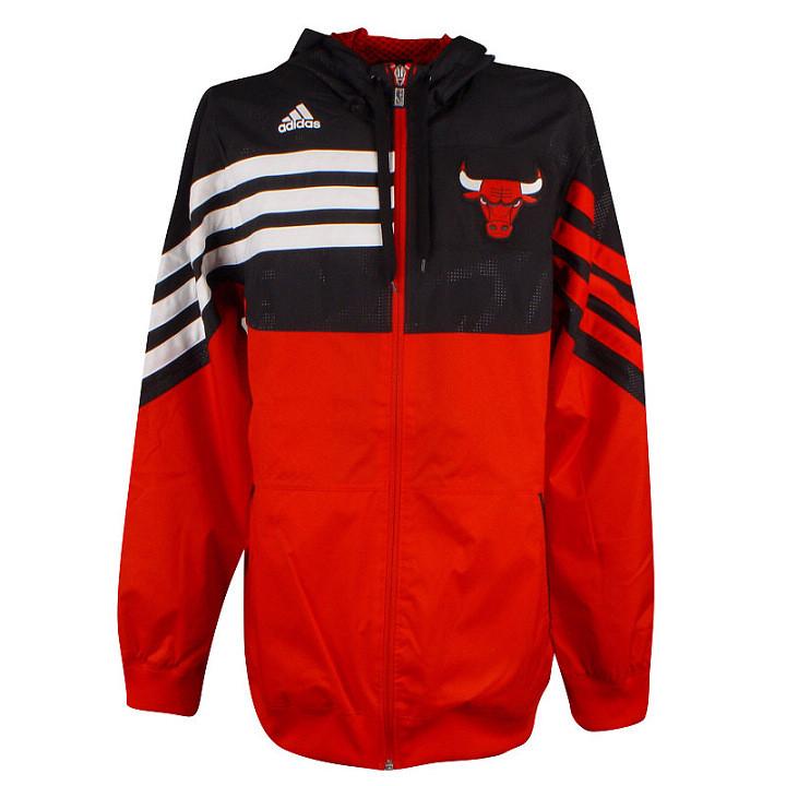 Ветровка спортивная мужская adidas East F/Z Hood O22038 (черная с красным, для тренировок, логотип NBA адидас)