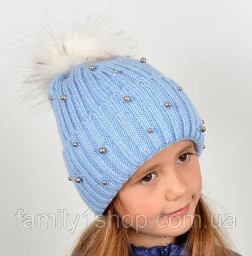 вязаная детская шапка с меховым помпоном цена 170 грн купить в