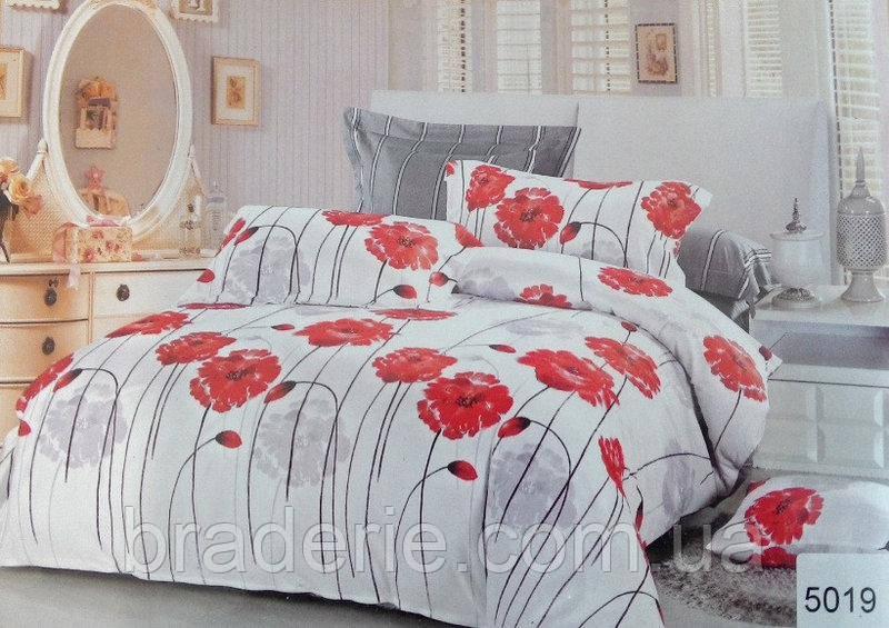 Сатиновое постельное бельё евро размер Elway 5019