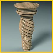 Ножка круглая винтовая точеная из дерева для тумб, кресел, мягкой и корпусной мебели. 150 мм.