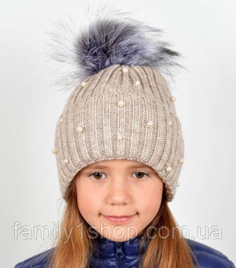 детская вязаная шапка украшена бусинами продажа цена в