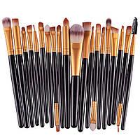 Набор кисточек  для макияжа из 20 шт цвет черный с золотым