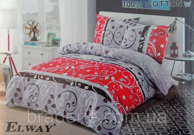 Сатиновое постельное бельё евро размер Elway 5002