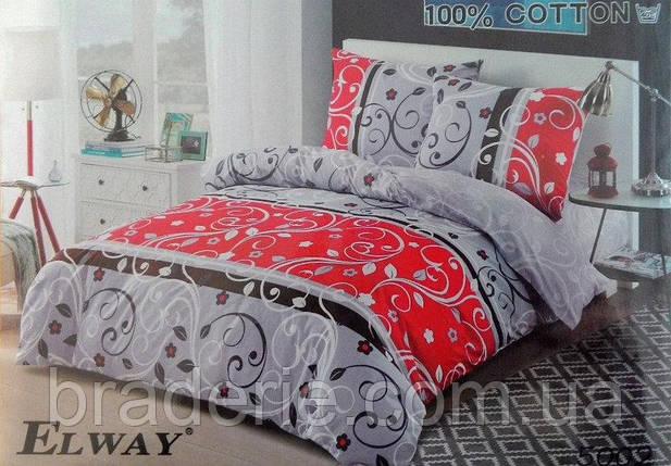 Сатиновое постельное бельё евро размер Elway 5002, фото 2