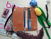 """Портмоне гаманець, кошелек """"Ві2"""" ручної роботи, натуральна шкіра, на кнопках магнітах, клатч"""