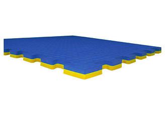 Татами /доянг, корт/ желто-синий, ласточкин хвост 100х100х2,5 см