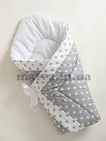 """Зимний конверт-одеяло для новорожденного """"Звезды"""" с белым бантом, фото 1"""