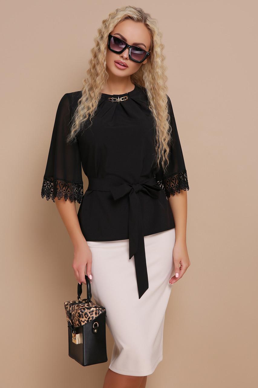 Женская блуза с кружевом размеры S M L (42,44,46)