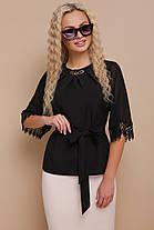Женская блуза с кружевом размеры S M L (42,44,46), фото 3