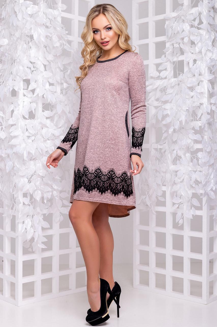8ac451fe79e45d1 Красивое ангоровое платье трапеция с люрексом с кружевом 42-50 размера  персиковое - 💎TM